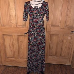 NWT L LLR Feather & Medallion Print Ana Maxi Dress
